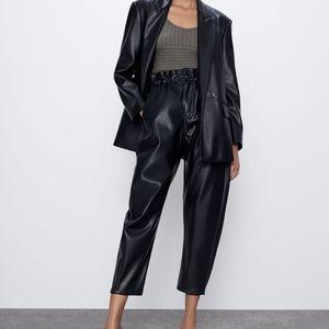 "Zara faux leather ""paperbag"" pants"